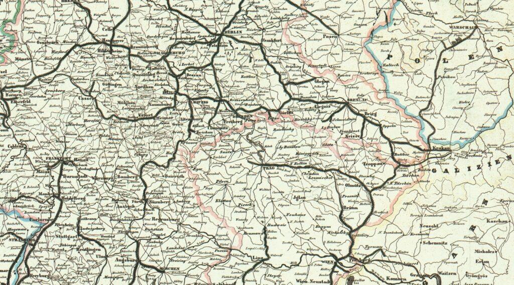 Połączenia kolejowe w Bramie Morawskiej w 1849