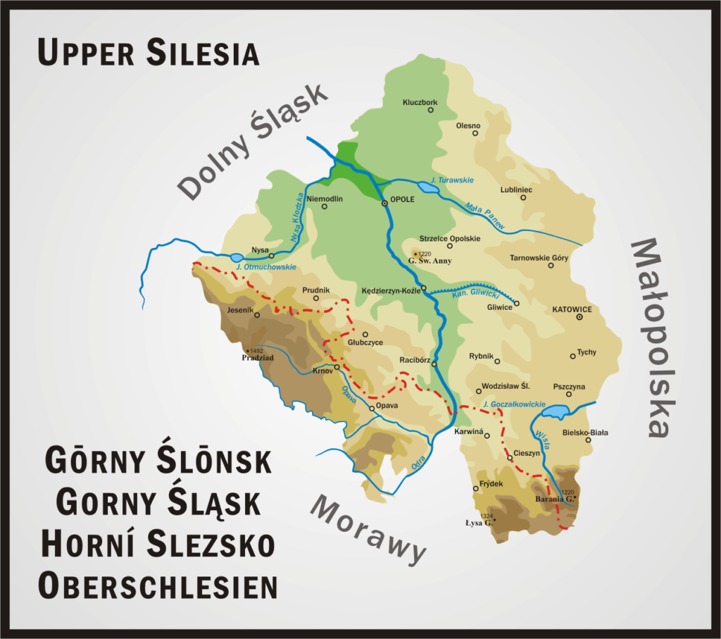 Współczesna mapa Górnego Śląska